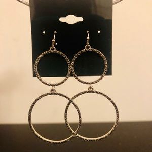 Double hoop drop earrrings